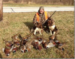 Fern is to the left as viewed and Mr. Miles on the right with 18 pheasants.